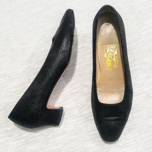 Ferragamo Black Suede Shimmer Heels size 7